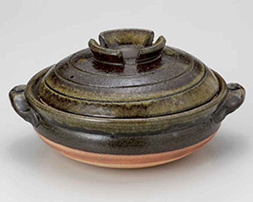 Green Glaze for 2-3 persons 8.3inch Donabe Japanese Hot pot Brown Ceramic Made in Japan by Watou.asia