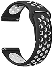 Classic Watch Band 22mm, Soft Breathable Silicone Strap Replacement Watch Bands compatible for Samsung Gear S3 and Galaxy Watch 46mm, Black and White