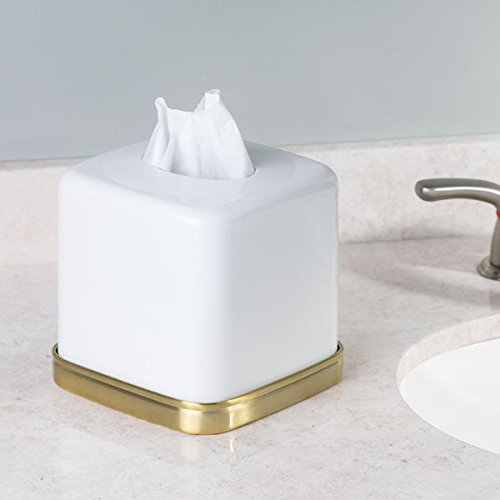 Mdesign Facial Tissue Box Cover Holder For Bathroom Vanity Countertops White Soft Brass Home