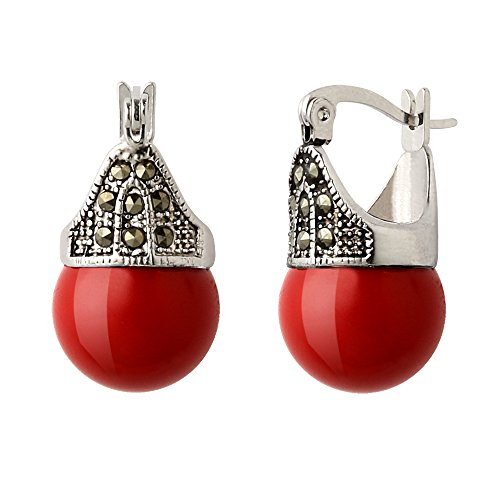 Hematite and Ball Hinged Pierced Earrings (Red Faux Pearl) (Round Pierced Earrings)