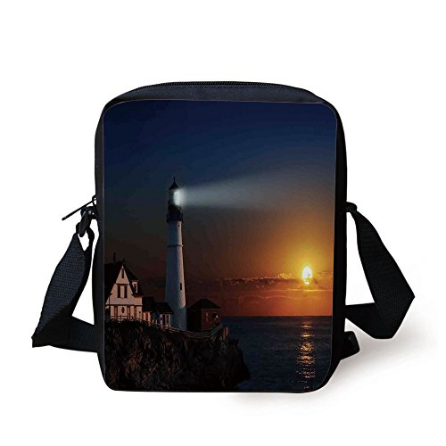 IPrint Lighthouse Decor,Portland House at Dawn Rocks Houses Fences Lamp Image Navigation, Print Kids Crossbody Messenger Bag Purse