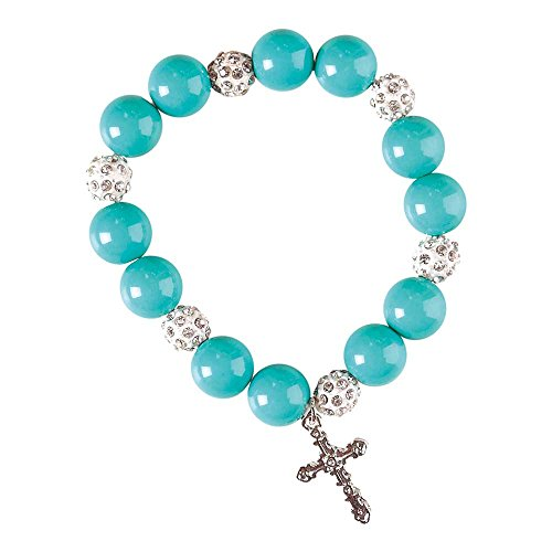 Beaded Bracelet Plated Silver Stretch (Dicksons Godmother Turquoise Jeweled Silver-Plated Women's Stretch Beaded Bracelet)