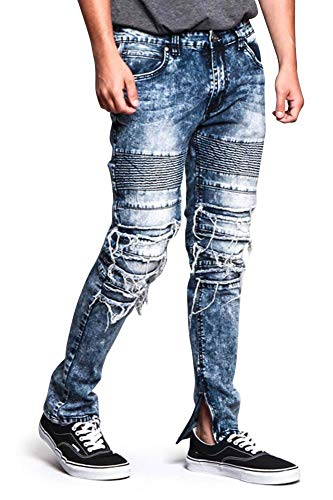 - Victorious Men's Distressed Ribbed and Frayed Biker Jeans with Ankle Zipper DL1151 - Indigo - 34/34 - O6B