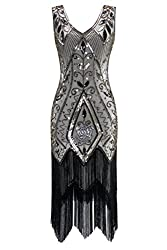 Metme Women's 1920s Vintage Flapper Fringe Beaded Great Gatsby Party Dress, Champagne, Medium