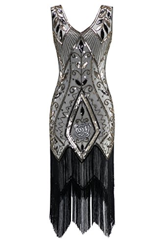 Metme Women's 1920s Vintage Flapper Fringe Beaded Great Gatsby Party Dress, Champagne, Large -