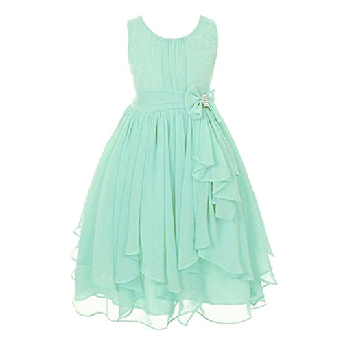 Weixinbuy Girls 2-12 Years Retro Flower Chiffon Sleeveless Dress Irregular Hem Party Dresses Mint Green 2-3Y