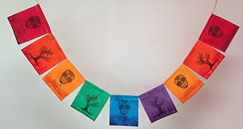 Day of the Dead (Dia de los Muertos) Prayer Flag. All proceeds to families in Mexico. Free domestic shipping.