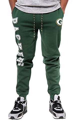 (NFL Green Bay Packers Men's Jogger Pants Active Basic Fleece Sweatpants, X-Large, Green)