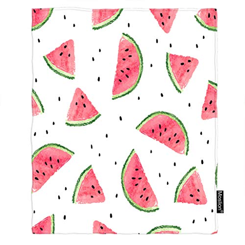 - Moslion Watermelon Throw Blanket Summer Fruit Watermelon Slices with Black Weed Polka Dot Blanket Home Decorative Flannel Warm Travel Blankets 30x40 Inch for Pet Dog Cat Red White