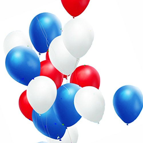 AZOWA Party Balloons red/blue/white Assorted Latex Balloons Party Decorations 60 pack 12''