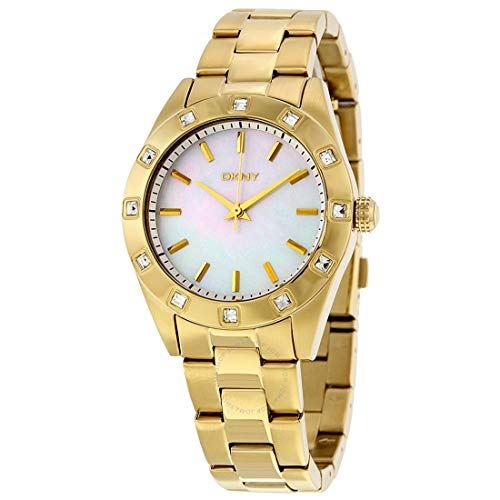 Dkny Mother Of Pearl Dial Watch - DKNY Women's Gold-Tone Stainless Steel Mother of Pearl Dial White Stone Accent