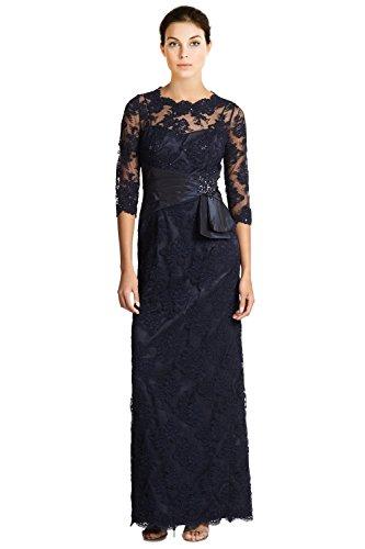 Teri Jon Beaded Lace 3/4 Sleeve Evening Gown Dress