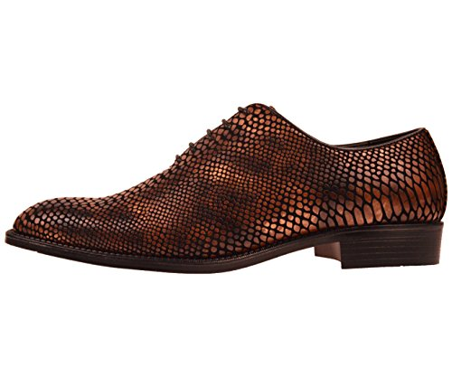 Bolano Mens Exotic Faux Snake Skin Print Oxford Dress Shoe: Style Seabrook Brown for nice UdgQ3cwr