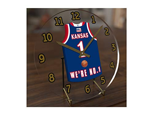 FanPlastic College Basketball USA - We're Number ONE College Hoops Jersey Themed Clocks - Support Your Team !!! (Kansas Jayhawks)