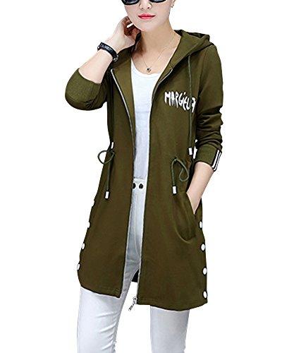 Mujer Delgado Larga Abrigo Chaqueta Con Capucha Cremallera Ocio Abrigo Verde Del Ejército