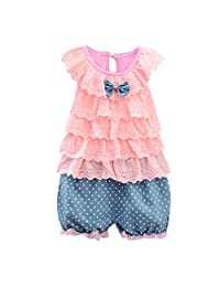 Toddler Outfits Set SIN vimklo Baby Girls Sleeveless Bow Lace Vest Top + Polka Dot Shorts (6Months-3Years)