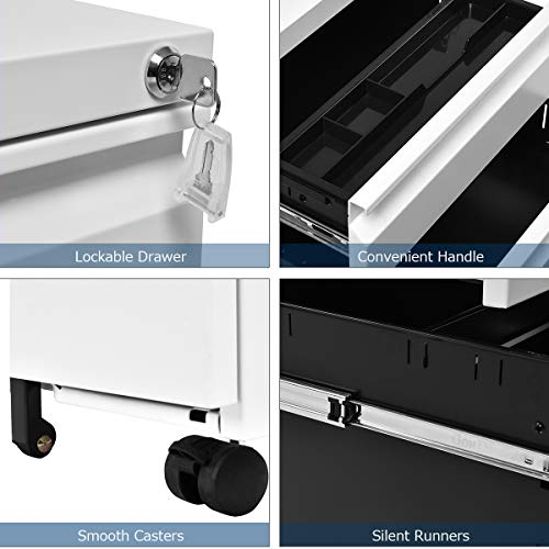 Giantex Rolling Mobile File W/3 Lockable Drawers and Pedestal for Office Study Room Home Steel Storage Cabinet (White) by Giantex (Image #3)