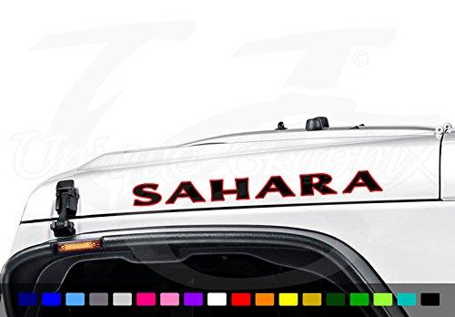 Jeep Wrangler SAHARA 2 color Vinyl Hood Decal Emblem 1 pair