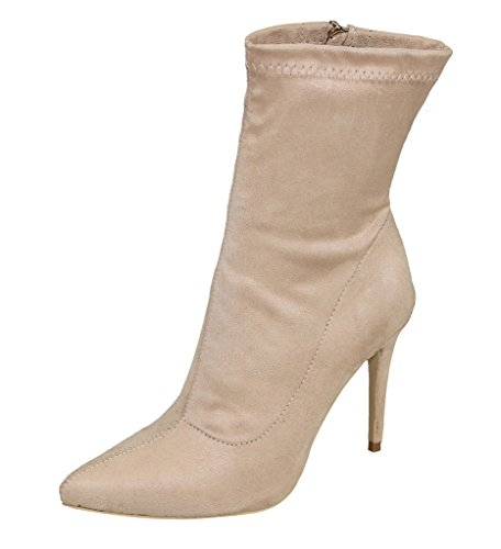 Zipper velveteen Heel Women's Classica beige Toe Side Boots Pointy Stiletto PfqvSt