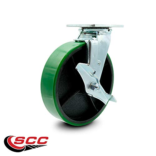 Service Caster - 8'' x 2'' Polyurethane Wheel Caster Set - Green on Black - 2 Swivel w/Brakes/2 Rigid - Non Marking - 5,000 Lbs Total Capacity - Set of 4 by Service Caster (Image #3)