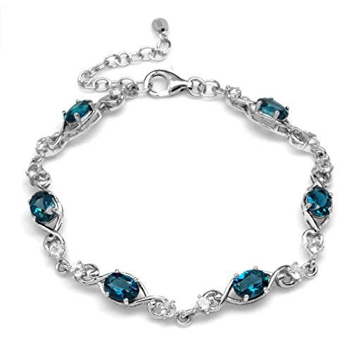 Sterling Silver Spiral Bracelet (5.82ct. Genuine London Blue Topaz 925 Sterling Silver Swirl & Spiral 7-8.5 Inch Adjustable Bracelet)