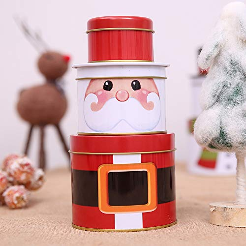 Fashionclubs Christmas Cookie Tins for Gift Giving,3 Set of Metal Nested Cookie Candy Storage Containners Jars Gift Tins with Lids,Snowman Design for Holiday Decor