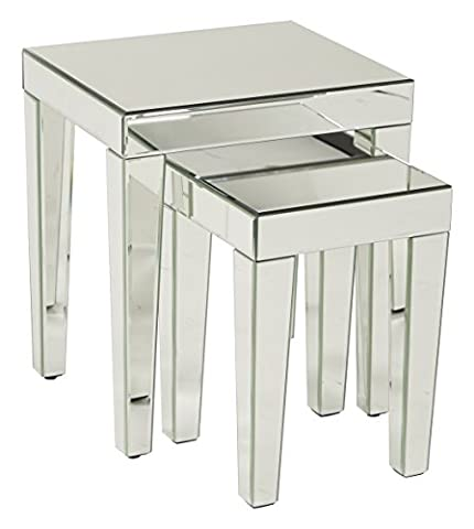 AVE SIX Reflections 2-Piece Nesting Table Set, Silver Mirrored Finish - Geo Coffee Table