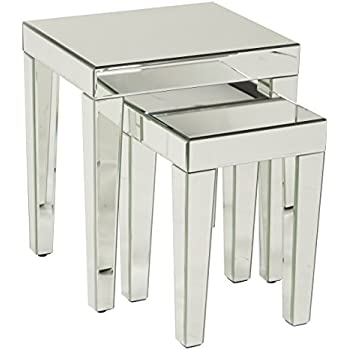AVE SIX Reflections 2 Piece Nesting Table Set, Silver Mirrored Finish