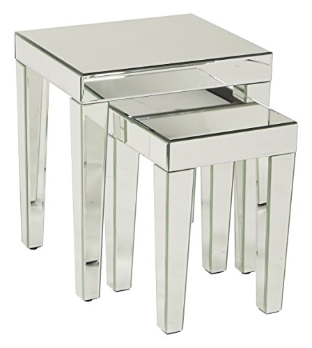 AVE SIX Reflections 2-Piece Nesting Table Set, Silver Mirrored Finish by Ave Six