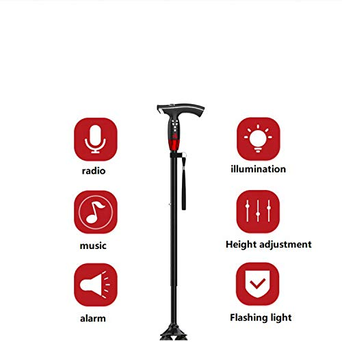 Old Aluminum Alloy Cane Radio Big Four-Foot Non-Slip Cane Adjustable Height Lightweight Cane with Built-in LED Lights Non-Slip Male and Female