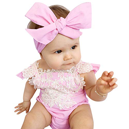Dream mimi Fashion Newborn Infant Cute Baby Girls Lace Floral Romper Jumpsuit Outfits Set Sunsuit 0-18M(Pink,70)