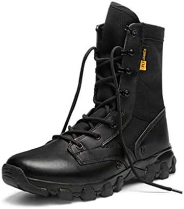 軍事戦術ブーツオックスフォード布レザーは暖かいハイヘルプレースアップスタイルの登山靴滑り止め耐摩耗ラバーソールをキープ (色 : 黒, サイズ : 26 CM)