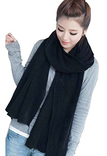 Wander Agio Women's Warm Long Shawl Winter Warm Large Scarf Pure Color Black