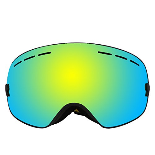 Ski Goggles, Frameless UV Protection Anti-fog Spherical Lens Winter Snow Sports Snowboard Huge View Goggles for Men Women & - Goggles Ski Clearance Polarized