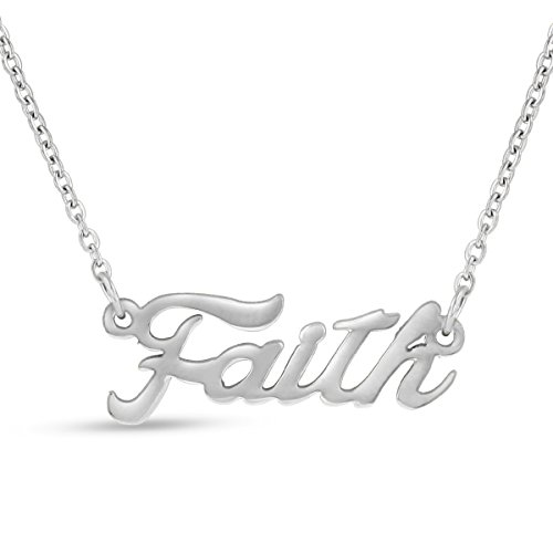 Faith Nameplate Necklace In Silver Tone