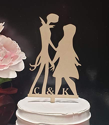 Jack and Sally cake topper initial topper Nightmare Christmas Personalized Mr Mrs Wedding Anniversary Engagement Cake Topper]()