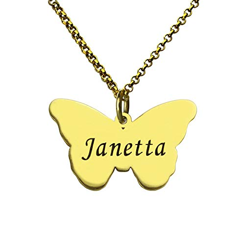 925 Sterling Silver Carved Butterfly Pendant Necklace Fashion Ladies Custom Name Necklace(Gold-Plated-Base 14) ()