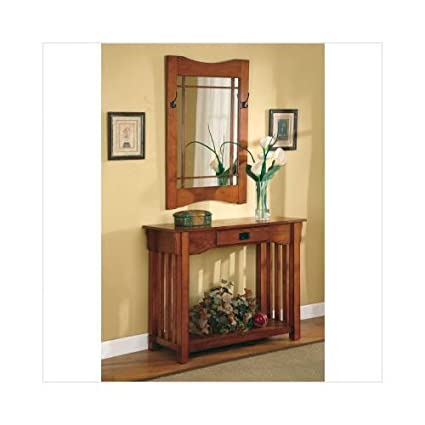 2pcs Mission Style Entry Way Foyer Console Table Mirror Set