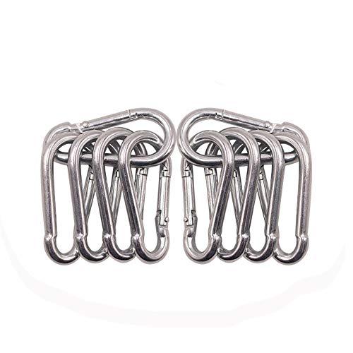 - 10 Pack Spring Snap Hook Carabiner Galvanized Steel Clip Keychain