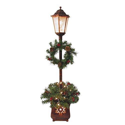 Victorian Lamp Post - 4' Bronze Distressed Decorative Christmas Street Lamp with Pine Needles and Berries