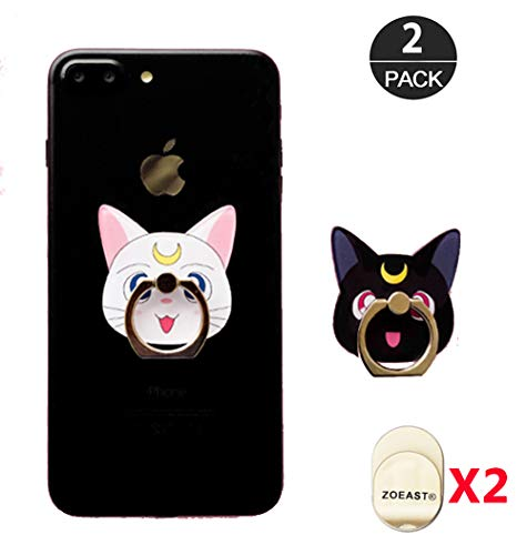 ZOEAST(TM) 2pcs Phone Ring Grip Sailor Moon Black White Cat Luna Universal 360° Adjustable Holder Case Stand Stent Mount Kickstand Compatible All iPhones Samsung Android Pad Tablet (2pcs Moon Cats)