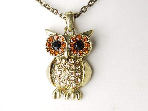 - Gold Tone Topaz Crystal Rhinestone Curious Mr. Owl Big Eyed Pendant New Necklace