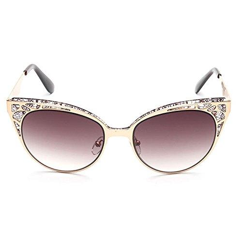 de al Gafas para Cat de Libre Mujeres Marrón viaja Vintage Flor del Protección Marco Que Sol Eyes Peggy Color Conducción la Hueco Azul Aire de UV Diseño Gu xfRA7PA