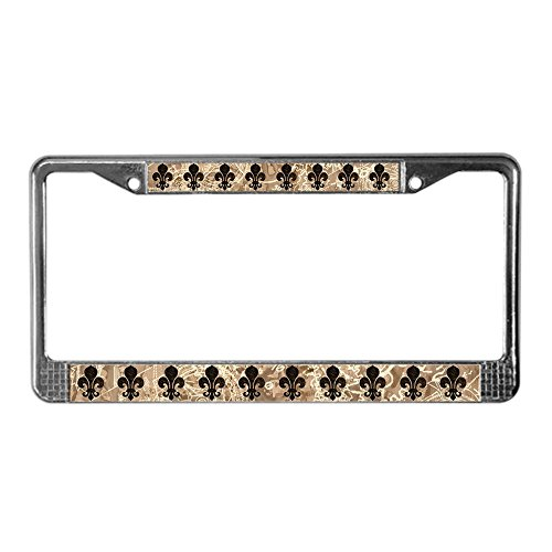 Fleur De Lis Tag (CafePress - Clockwork Fleur De Lis License Plate Frame - Chrome License Plate Frame, License Tag Holder)