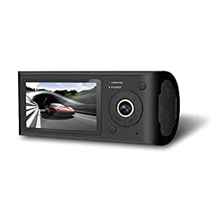 Pyle 2.7'' LCD Display HD Vehicle Dash Cam - 480p Dual Front and Rear View Facing Camera DVR Video Recording System w/ GPS Navigation Logger - Rechargeable Battery and Memory Card Support PLDVRCAMG37