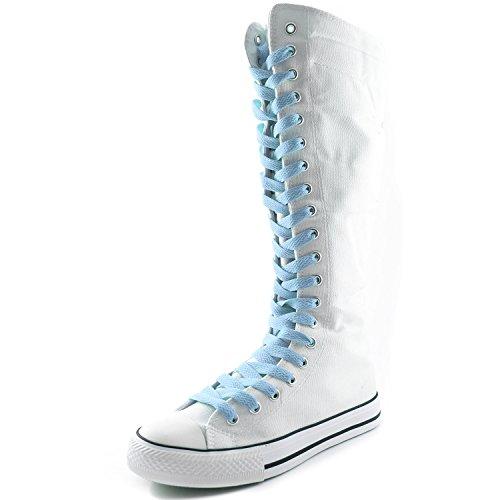 Damestas Dames Canvas Mid Kalf Lange Laarzen Casual Sneaker Punk Platte Witte Laarzen, Babyblauw Kant