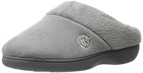 Isotoner Women's Classic Hoodback W Memory Foam Slip on Slipper, Ash, 8.5-9 M US