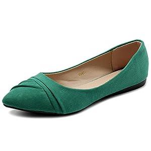 Ollio Women's Shoe Ballet Dress Faux Suede Pleated Pointed Toe Flat