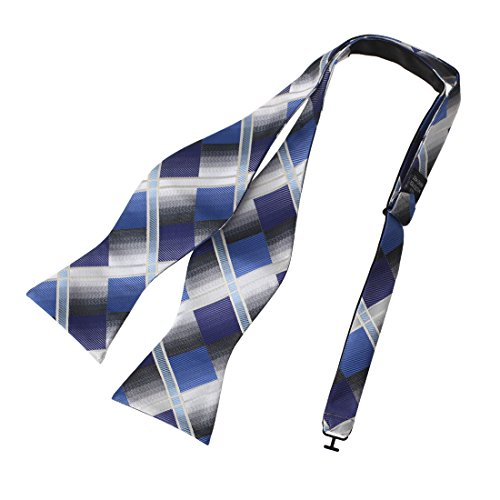 DBA7C15A Royal Blue Grey Checkers Bow Tie Microfiber Best For Working Day Hand-model Bow Tie By Dan Smith (Series Blue Royal)