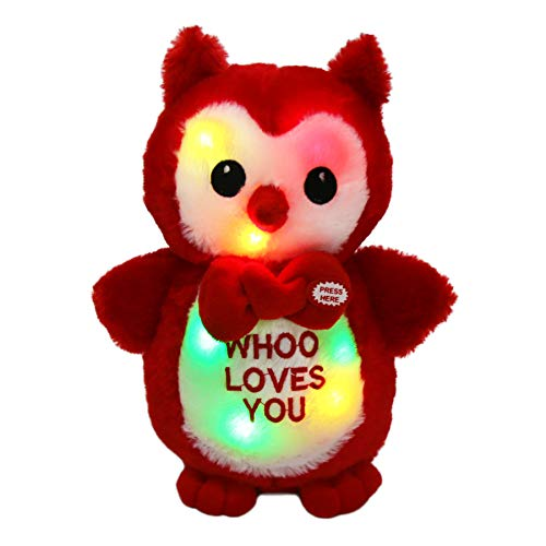 WEWILL LED Owl Stuffed Animals Glow Cute Soft Plush Toy Love